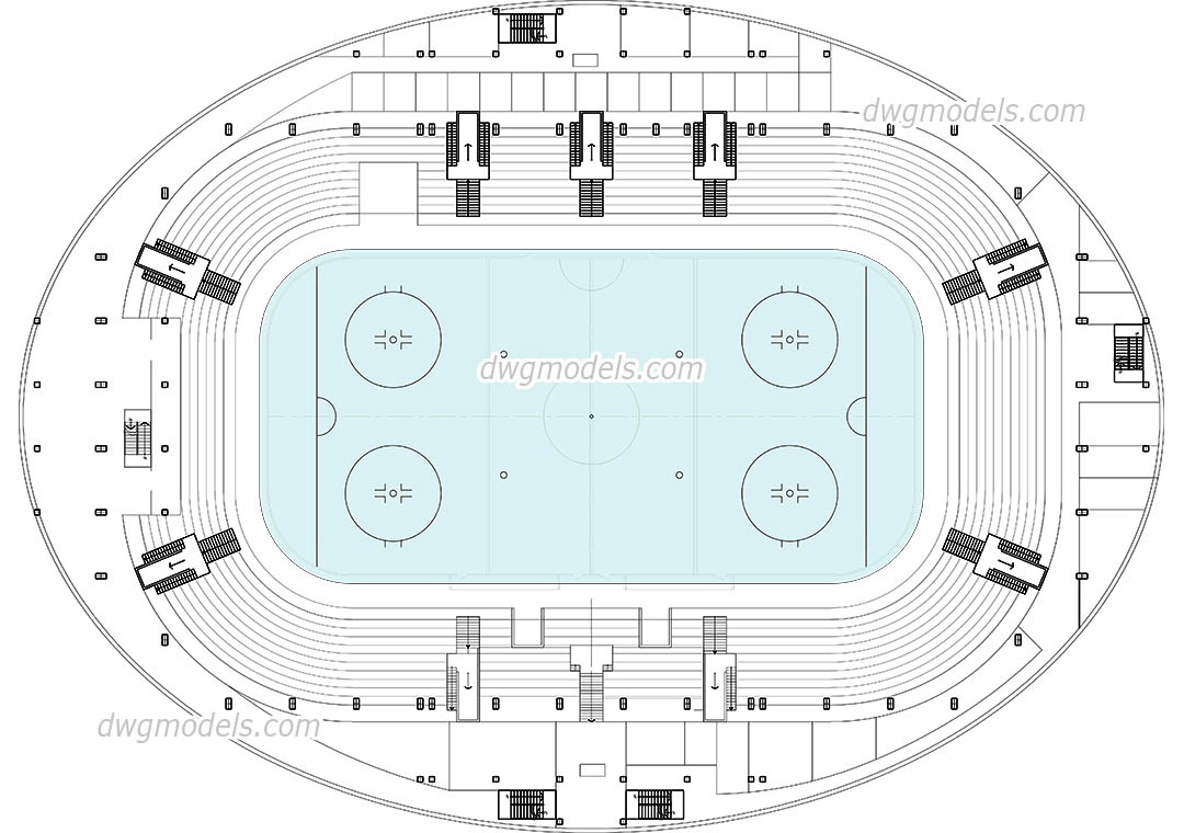 Hockey Arena dwg, CAD Blocks, free download.