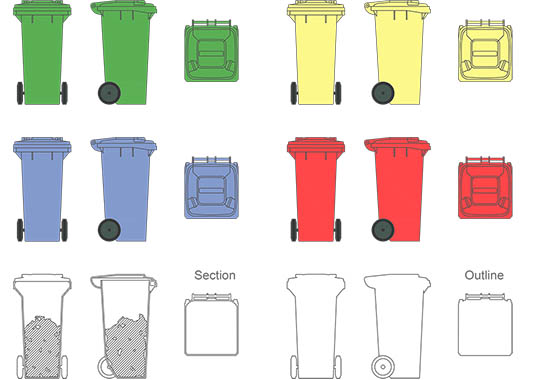 Garbage bin 1 - DWG, CAD Block, drawing.
