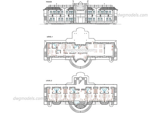 Hotel plans and facade free dwg model