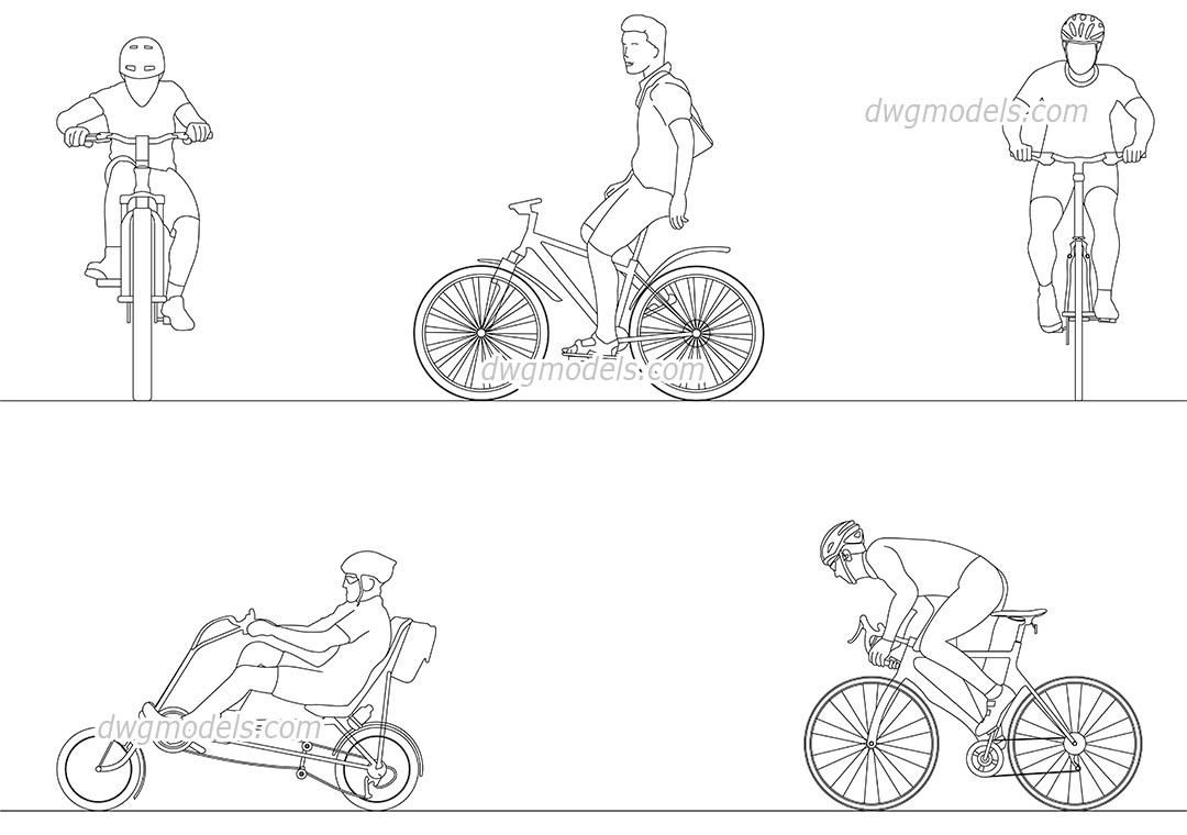 People cyclists 35 DWG, free CAD Blocks download