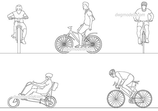 People cyclists 35 - DWG, CAD Block, drawing