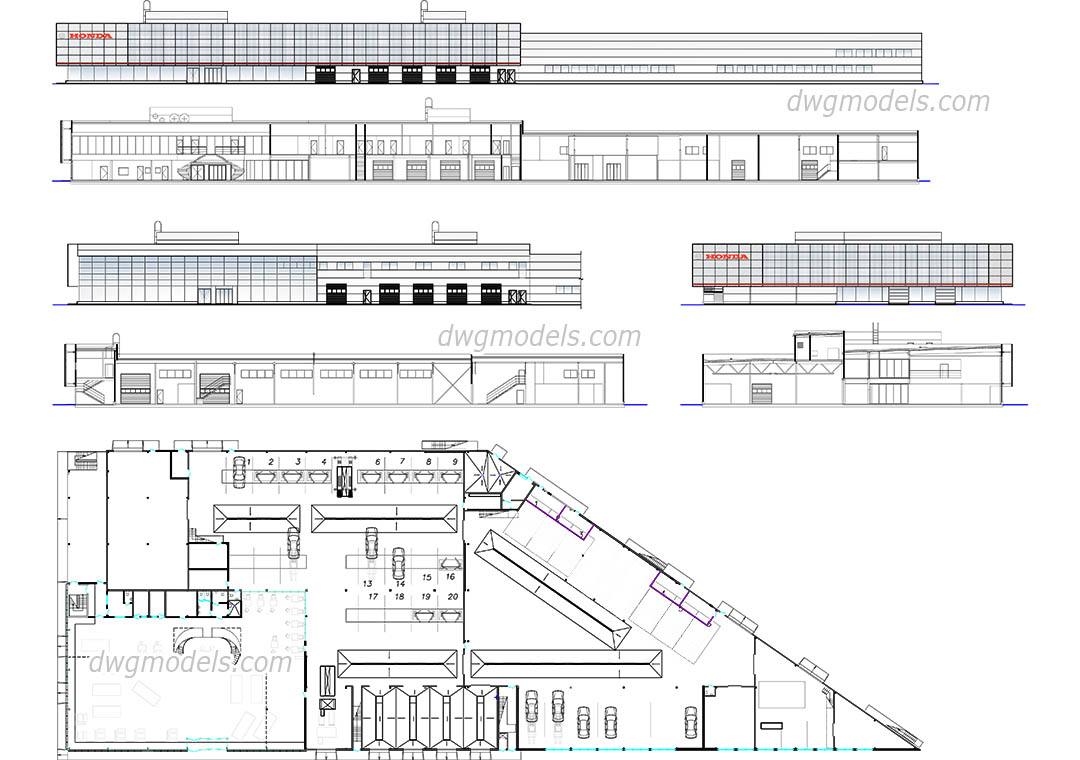 Car showroom and service station autocad drawings free for Cad car plan