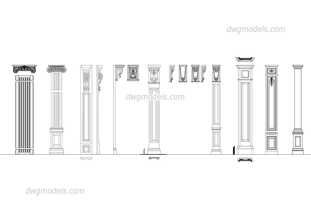 Pilasters set dwg, CAD Blocks, free download.