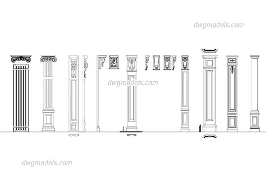 Pilasters set free dwg model