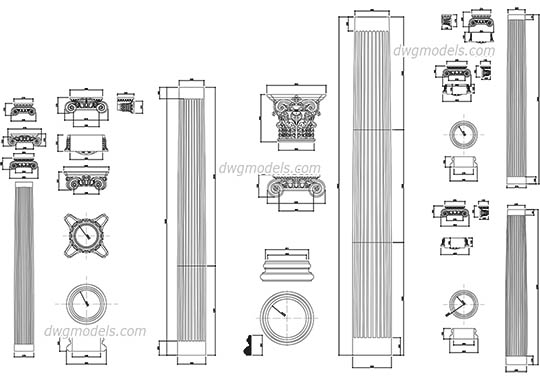 Ionic Colums dwg, cad file download free