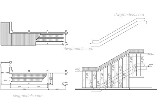 Escalator 1 - DWG, CAD Block, drawing