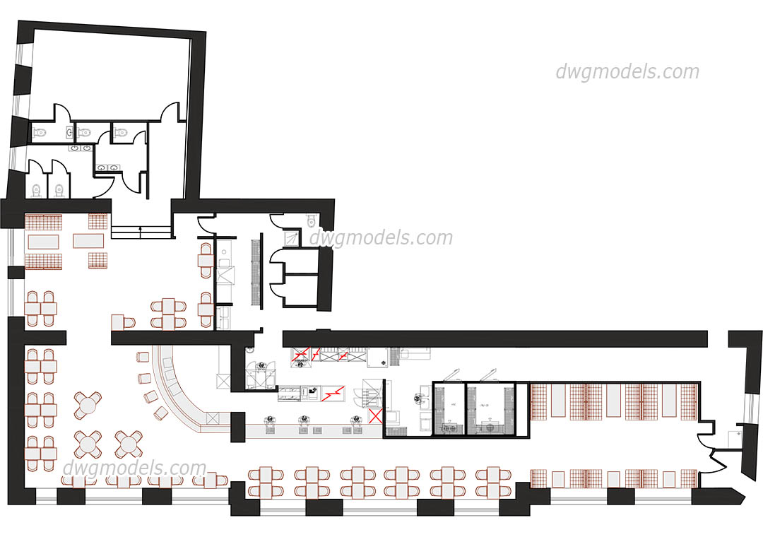 Restaurant Kitchen Plan Dwg kitchen of the restaurant dwg, free cad blocks download