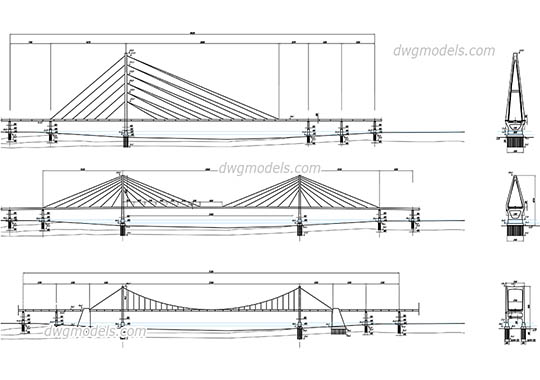 Cable-stayed Bridges free dwg model