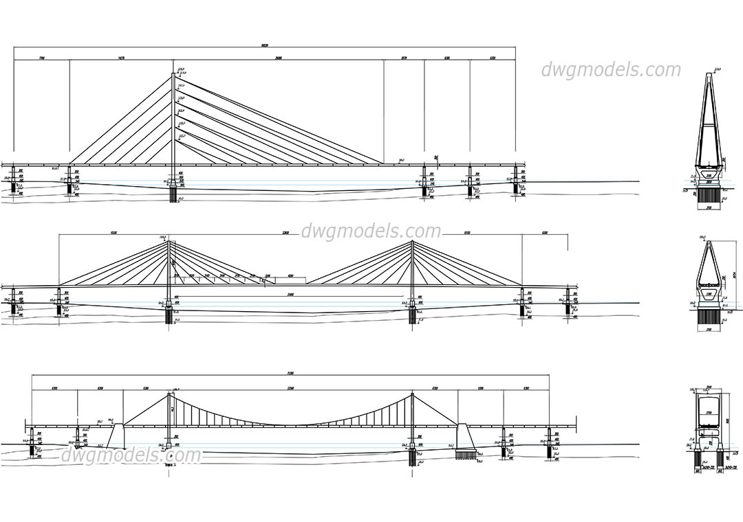Cable-stayed Bridges dwg, CAD Blocks, free download.