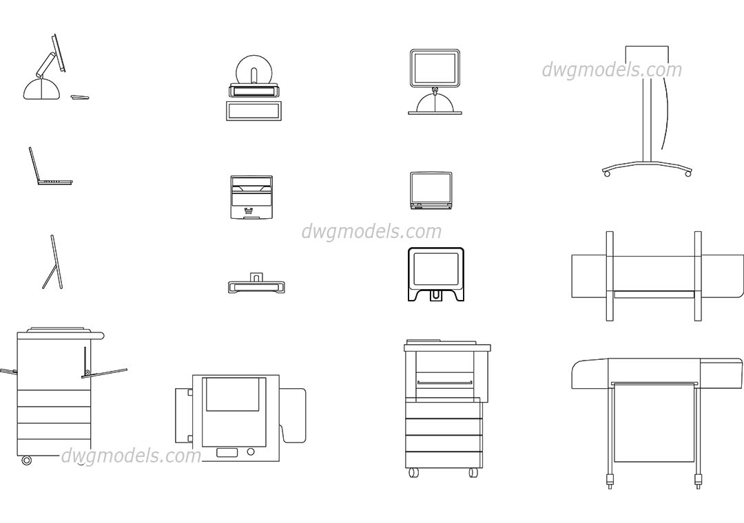 Office equipment dynamic cad blocks free download dwg models for Office design dwg