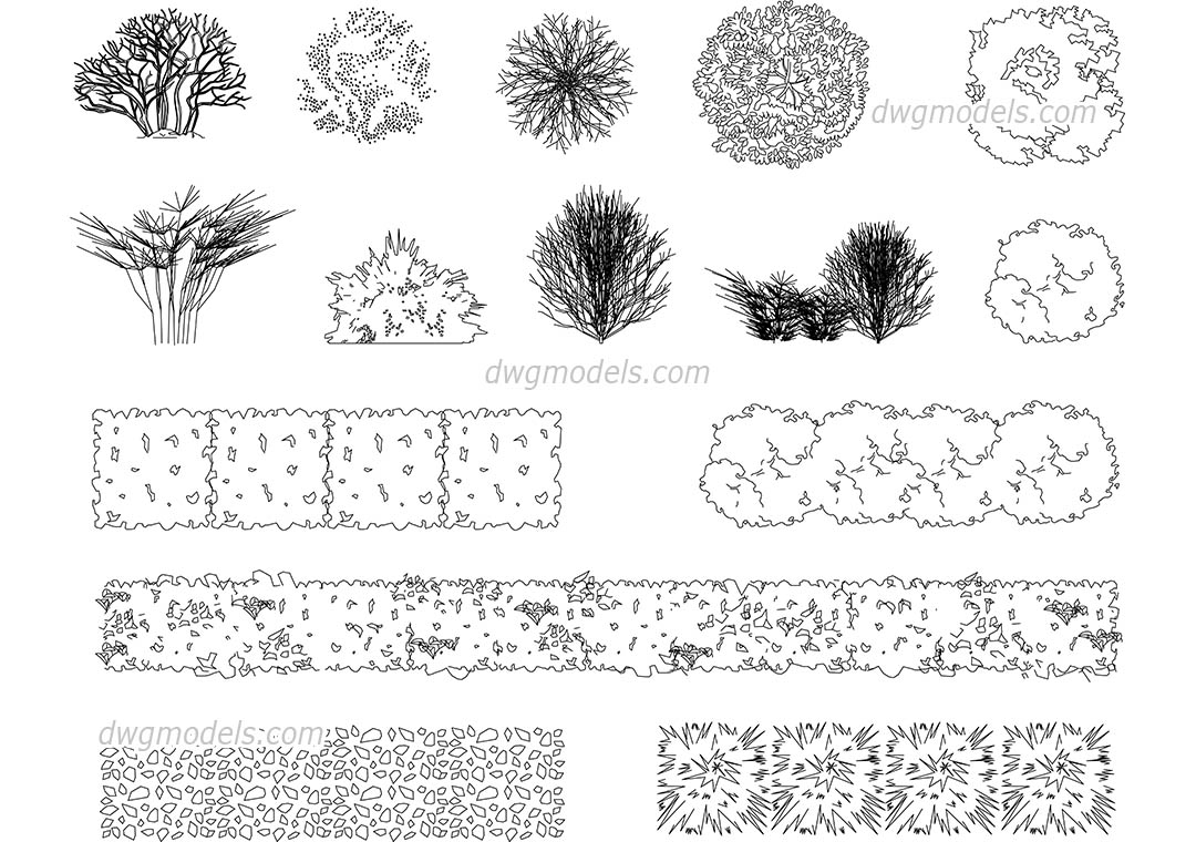 Bushes 1 Dwg Free Cad Blocks Download