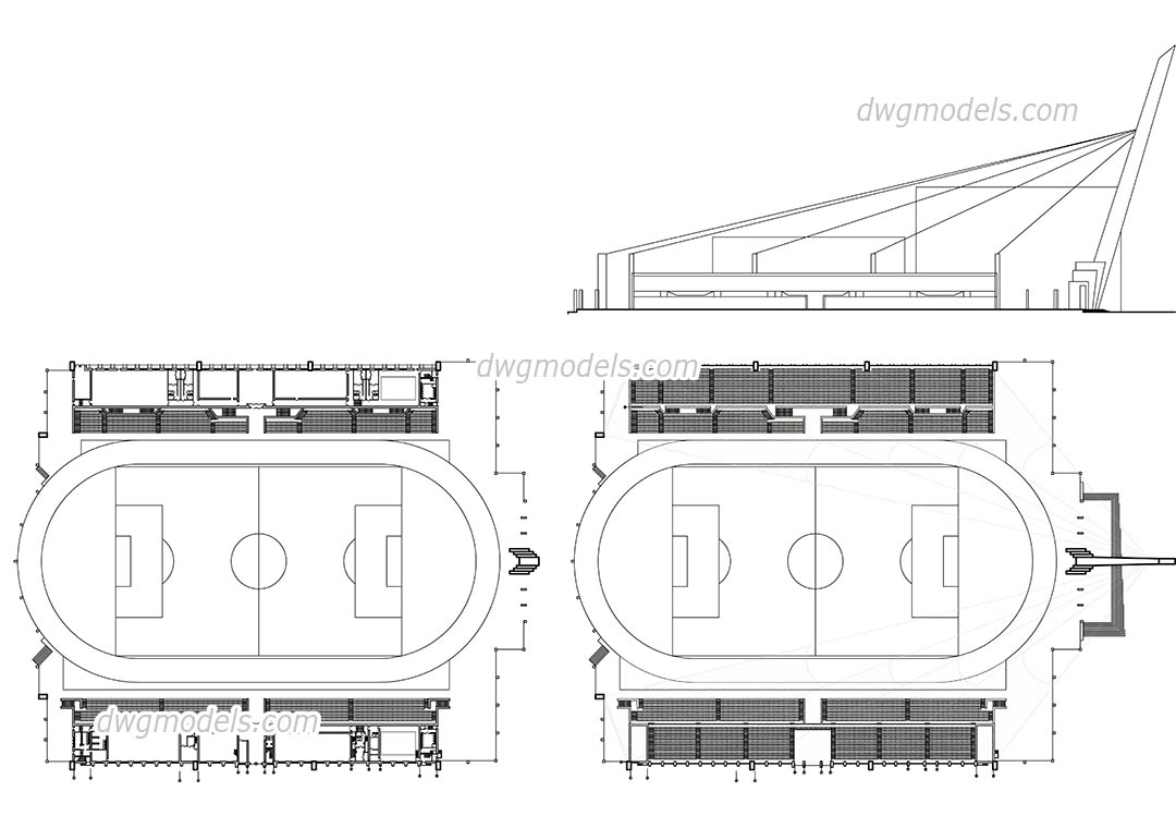 Stadium plan, elevation dwg, CAD Blocks, free download.