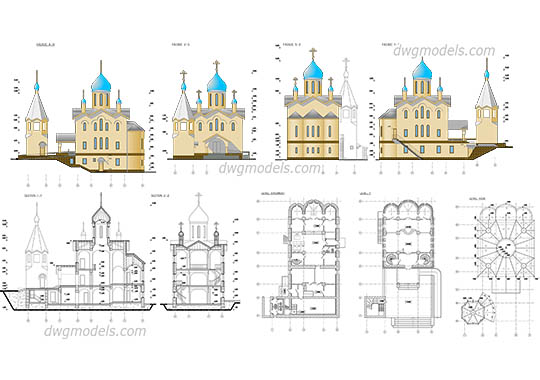 Church Plan, Elevation free dwg model