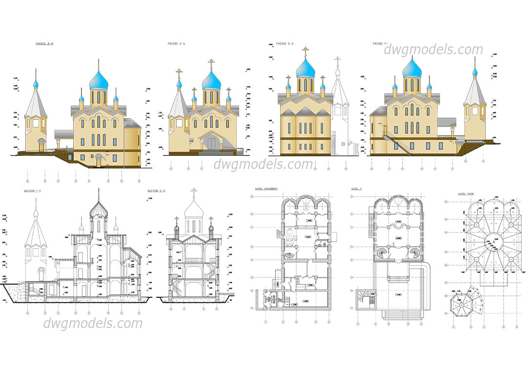 Church Elevation Plan : Church plan elevation dwg autocad drawings free download