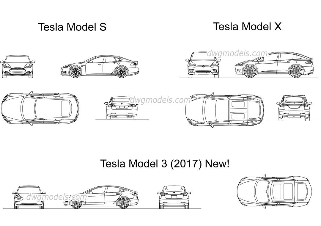 Tesla Set dwg, CAD Blocks, free download.