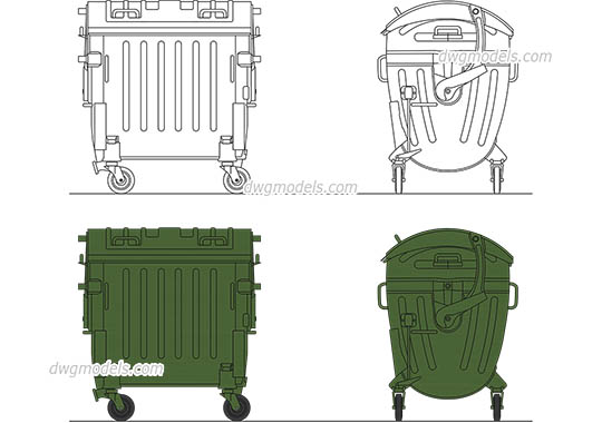 Plastic Garbage Bin - DWG, CAD Block, drawing.