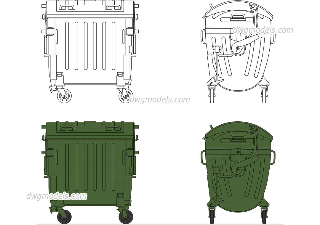Plastic Garbage Bin dwg, CAD Blocks, free download.