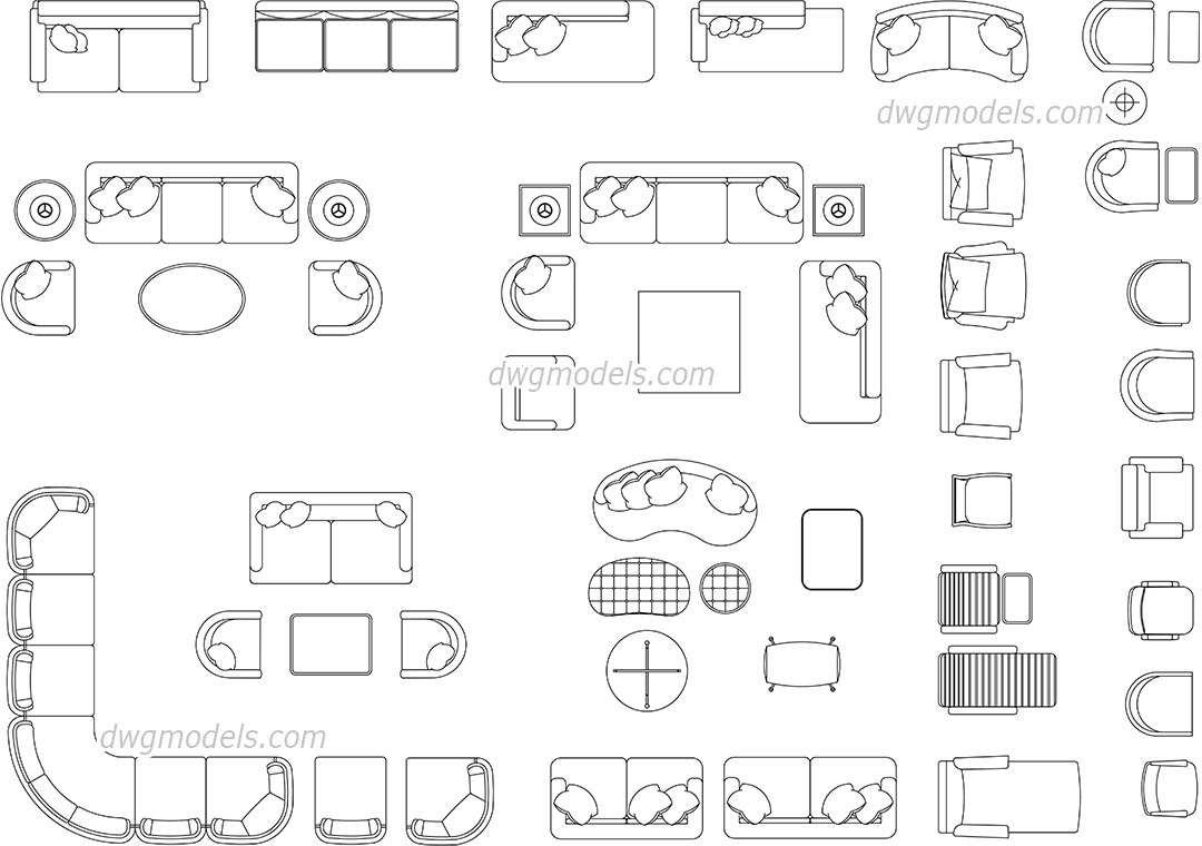Living Room Furniture Dwg, Cad File Download Free.