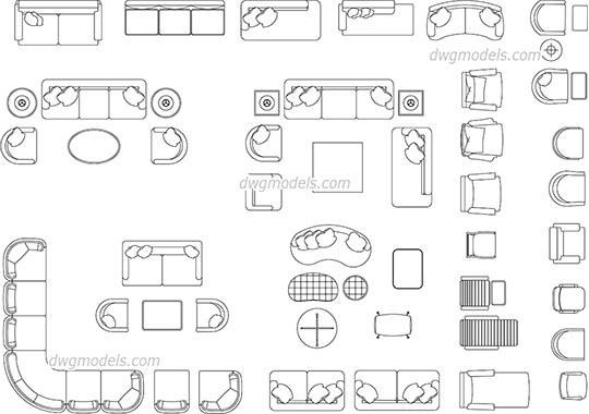 Living Room Furniture dwg, cad file download free
