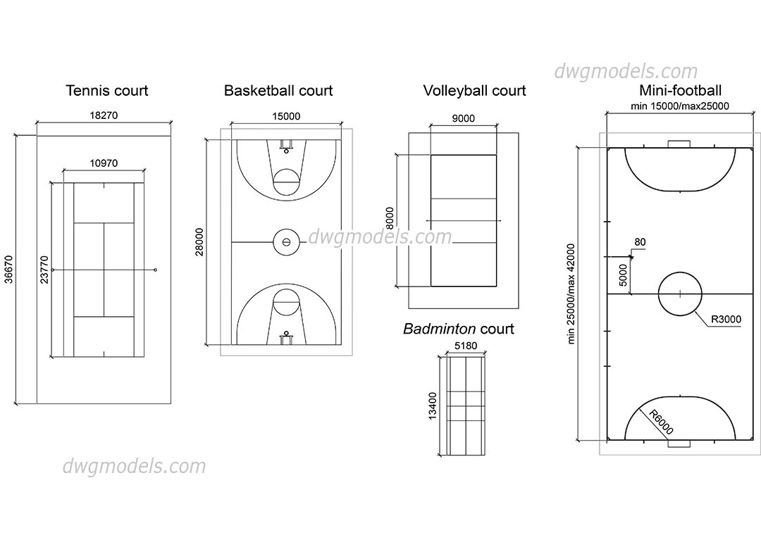 Sports Сourts Dimensions Diagram Autocad Drawings Free