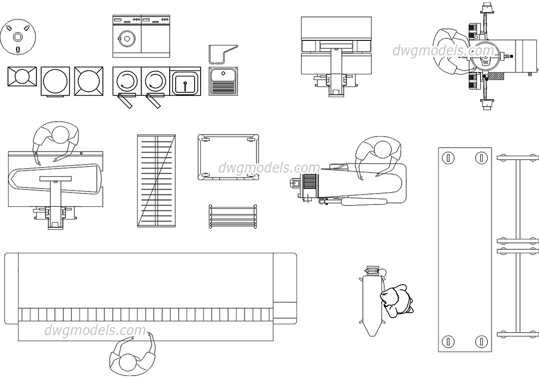 Laundry Equipment, machines, CAD blocks free download
