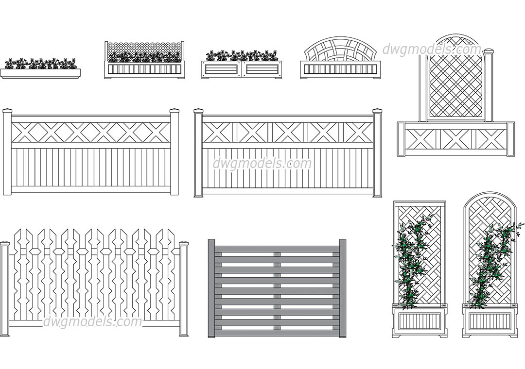 Flower bed and wooden fences dwg, CAD Blocks, free download.