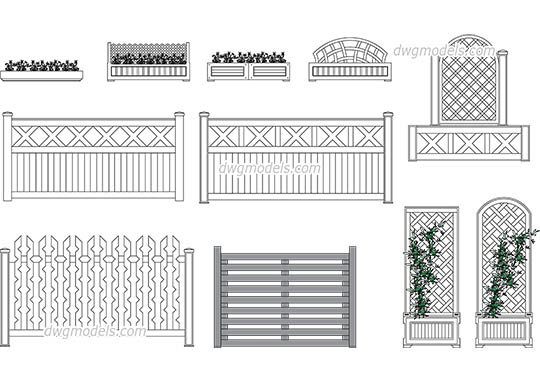 Flower bed and wooden fences free dwg model