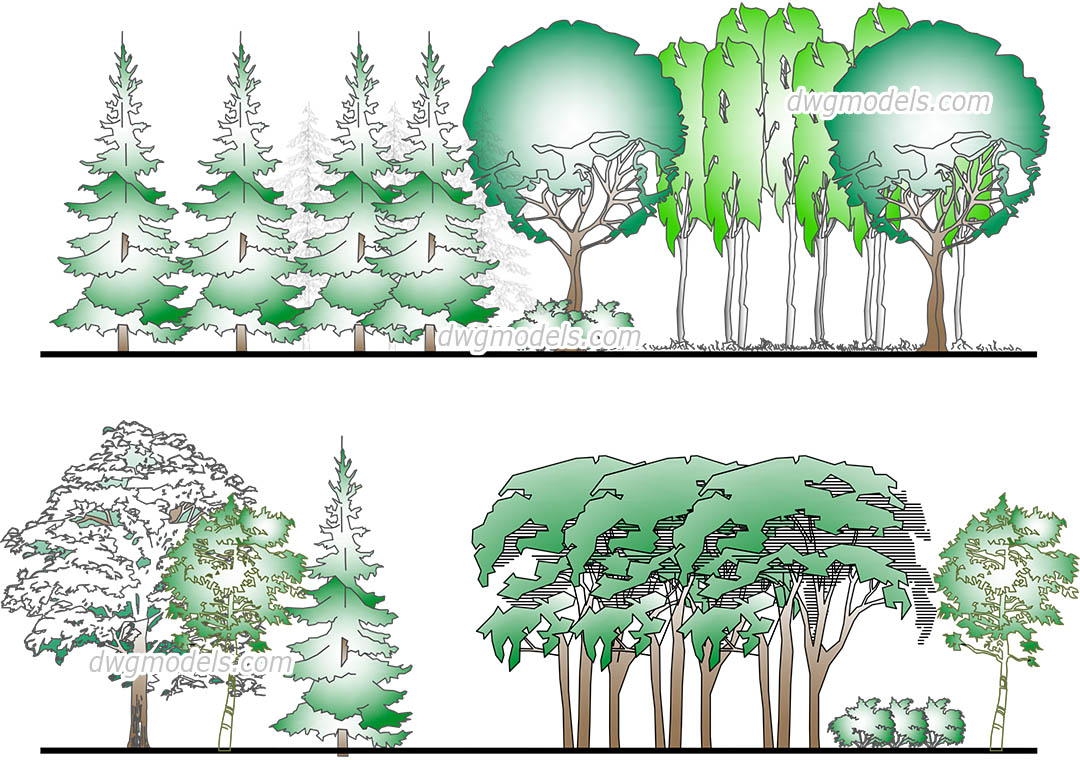 Forest dwg, CAD Blocks, free download.