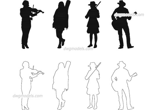 People musicians dwg, cad file download free