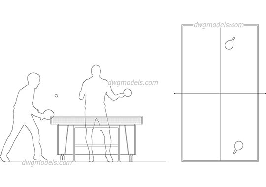 Ping-pong 1 - DWG, CAD Block, drawing