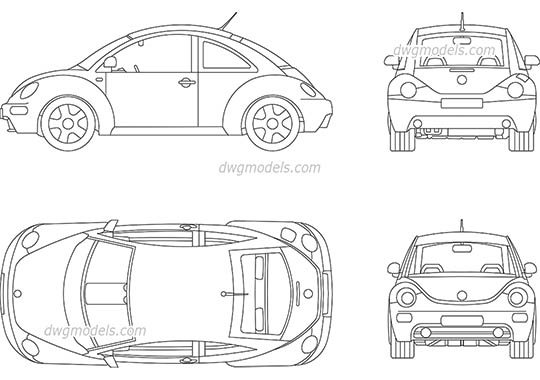 Volkswagen Beetle 2009 - DWG, CAD Block, drawing.