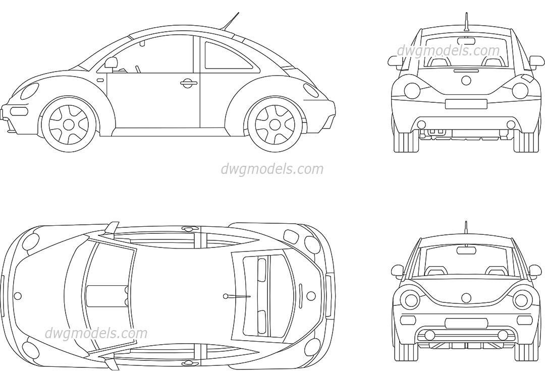 volkswagen beetle 2009 cad blocks free download  autocad model