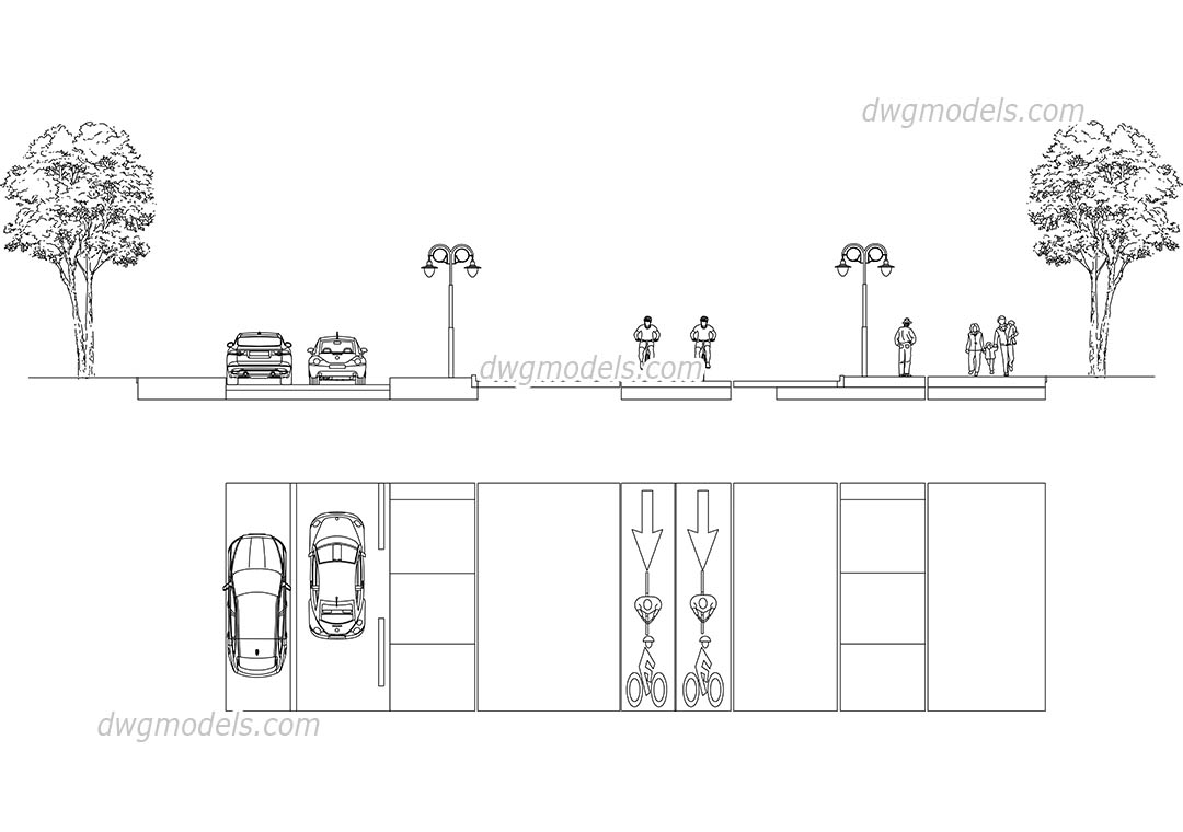Section Of The Street 2 Dwg Free Cad Blocks Download
