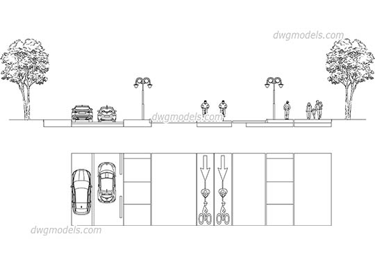 Section of the street 2 - DWG, CAD Block, drawing