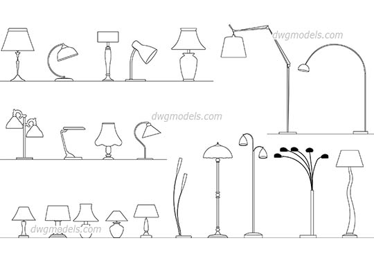 Lamps Set dwg, cad file download free