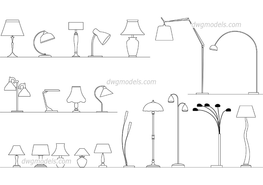 Lamps Set Autocad Blocks Cad Drawings Free Download