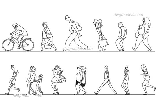 People Stylized 2 - DWG, CAD Block, drawing