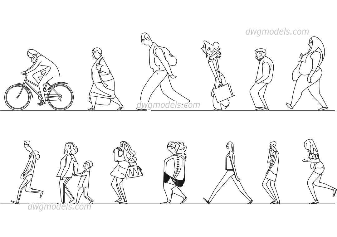 People Stylized 2 dwg, CAD Blocks, free download.