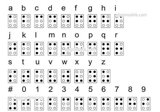 The Braille language - DWG, CAD Block, drawing.