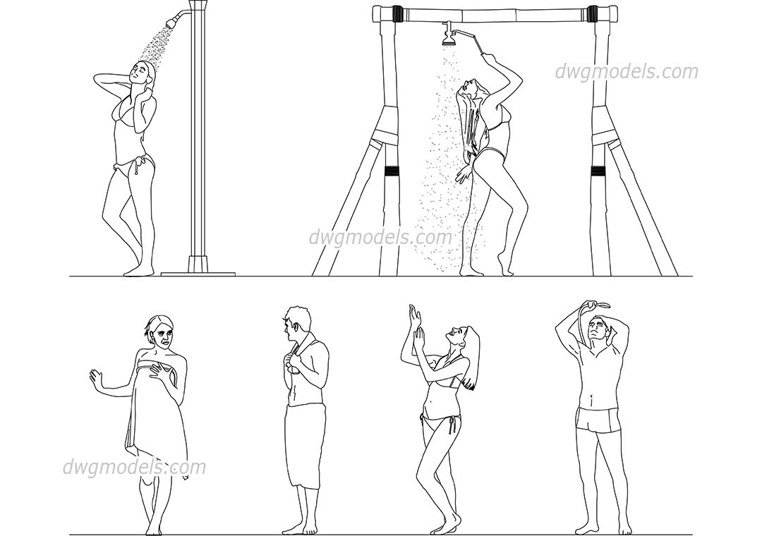 People have a shower dwg, CAD Blocks, free download.