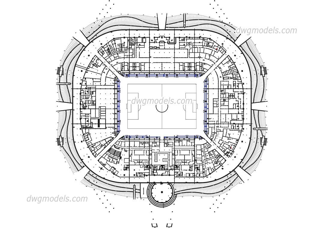 Stadium4-Level Ground dwg, CAD Blocks, free download.