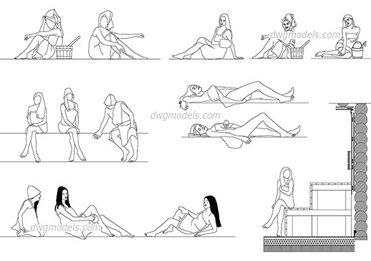 People in Sauna - DWG, CAD Block, drawing