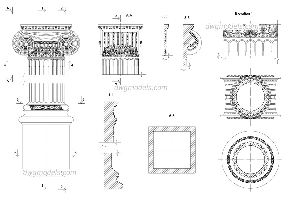Ionic pilaster details dwg, CAD Blocks, free download.