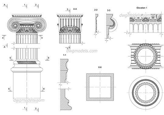 Ionic pilaster details dwg, cad file download free