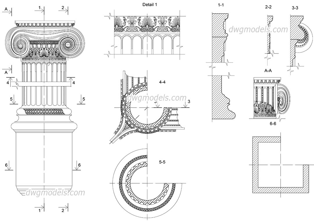 Ionic corner pilaster details dwg, CAD Blocks, free download.