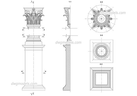 Corinthian column with pedestal free dwg model