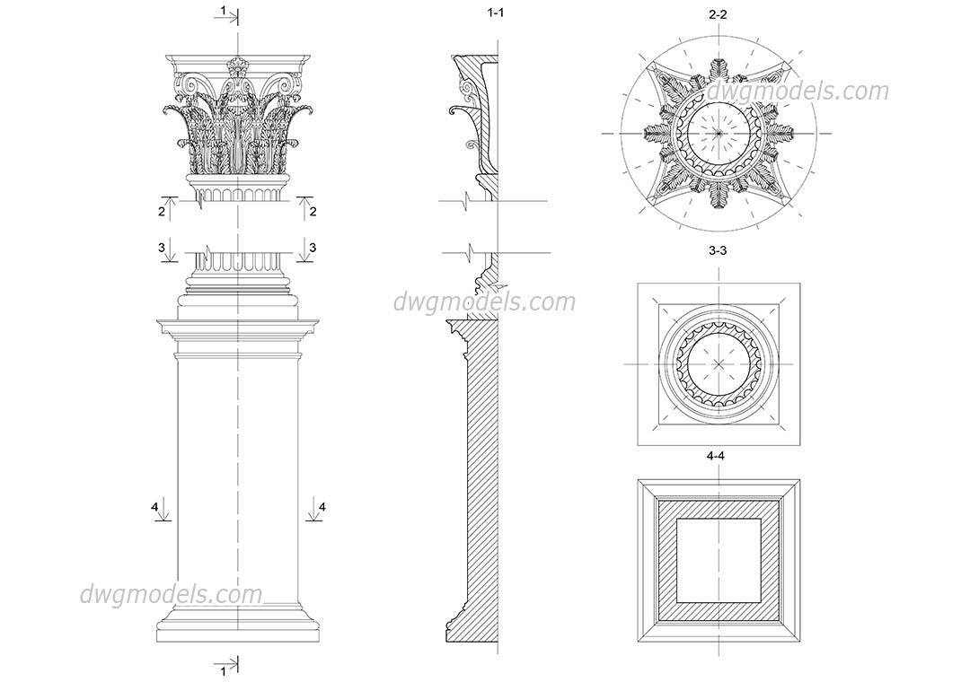 Corinthian column with pedestal dwg, CAD Blocks, free download.
