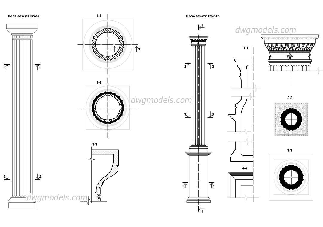Doric columns details AutoCAD drawings, CAD blocks free download