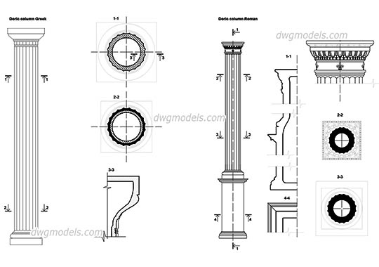 Doric columns details dwg, cad file download free