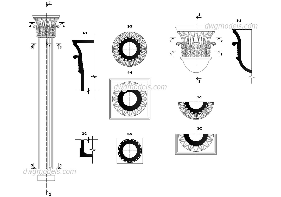Column Composite dwg, CAD Blocks, free download.